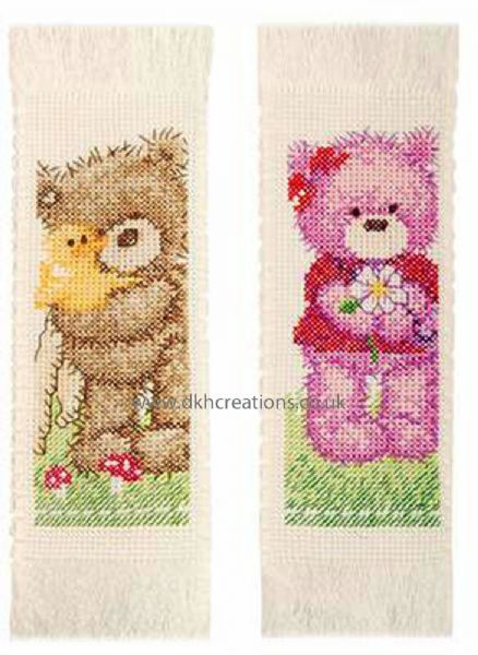 Popcorn  Bear And Brie Bookmarks Cross Stitch Kit